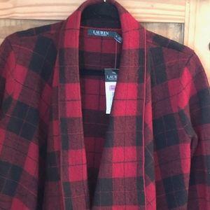 Ralph Lauren Women's Red Buffalo Check Cardigan